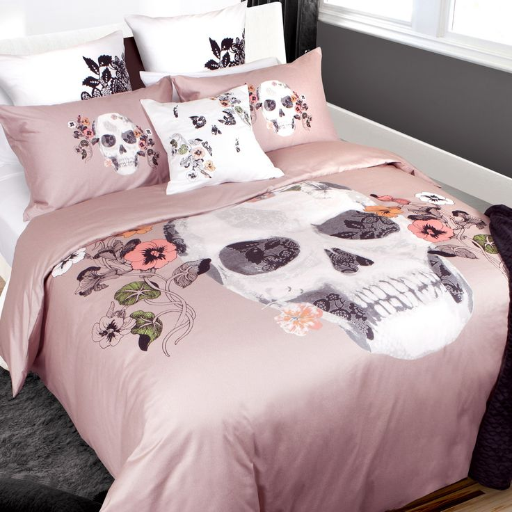 Everafter Collection:  The Everafter collection is inspired by Dia de los Muertos - a festive celebration of life, sugar skulls and ornate tattoo arts. A contemporary skull design adorns the center of the duvet, layered with lace details and surrounded by hand drawn flowers.