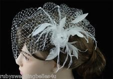 GORGEOUS HAND-MADE BRIDAL HEADDRESS -BIRDCAGE VEIL w FLOWER, CRYSTALS & FEATHERS