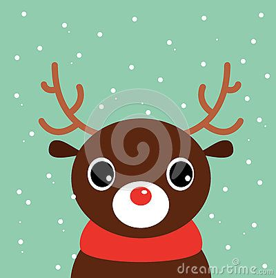 Beautiful cute xmas deer. Vector cartoon Illustration