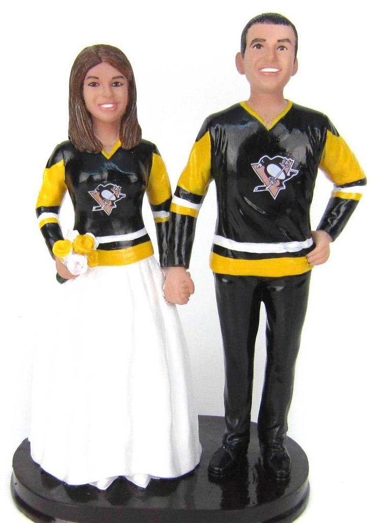 Custom Hockey Wedding Cake Topper - Classic Style Hockey wedding cake topper with old style Pittsburgh Penguins jerseys