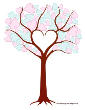 This printable family tree is made up entirely of blue and pink hearts instead of leaves. Free to download and print