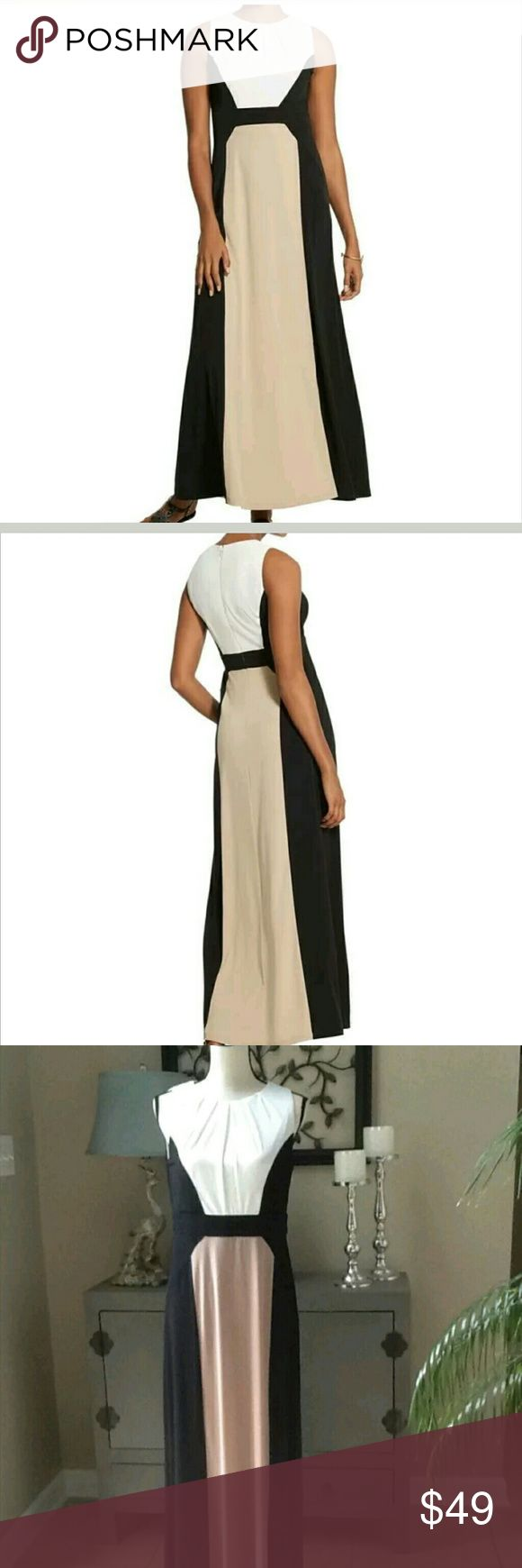 """Chico's Colorblock Column Dress Make a date to wear this colorblock column maxi dress!! It's perfect for a special occasion, with pleated details to accentuate the neckline and a colorblocked design that's slimming.Back zip. Unlined. Length {56.5"""".} Polyester. Lovely combination of black, beige (tan) and white. This is a Chico's size 0, which corresponds to a small in regular sizes. NWT - originally $139. Chico's Dresses Maxi"""