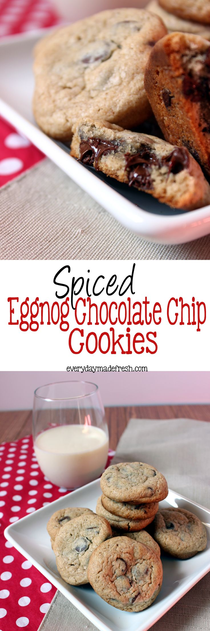 Chocolate chip cookies just got a Christmas makeover. Spiced Eggnog ...