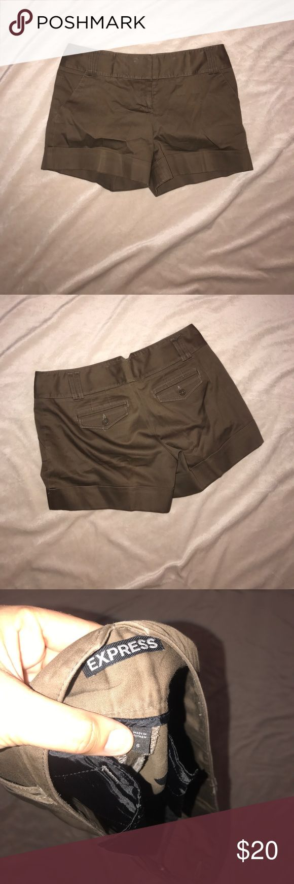Worn once! Size 6 brown express shorts EUC. Worn once took to dry cleaners and ready to go. Perfect condition. Pet/smoke free home.   OBO Express Shorts