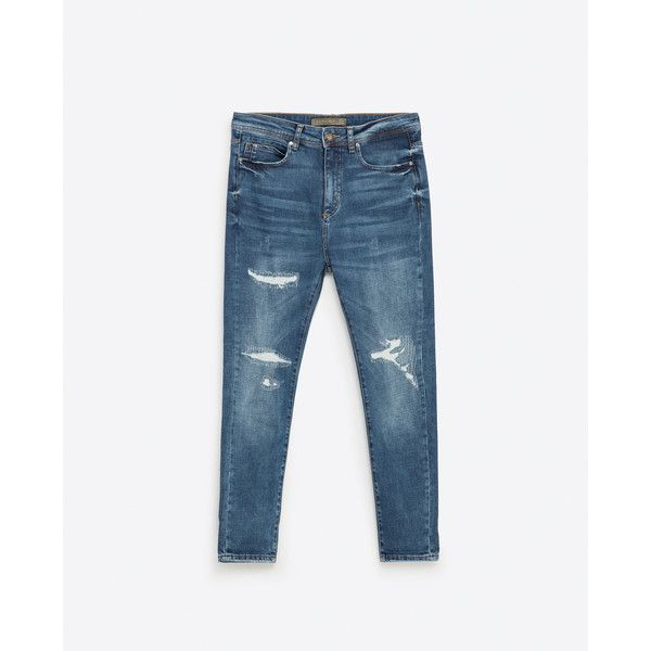 Zara New Carrot Ripped Jeans ($80) ❤ liked on Polyvore featuring men's fashion, men's clothing and men's jeans