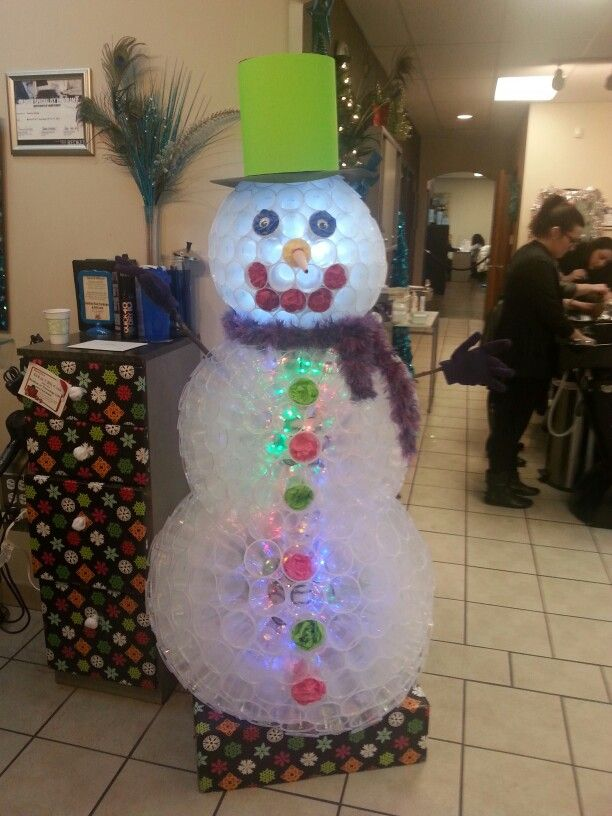 Snowman made from plastic cups. So cute! Tammy at my salon made it. Awesome!