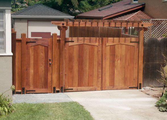 Custom redwood gate by l huls designs fence design ideas for Driveway gate designs wood