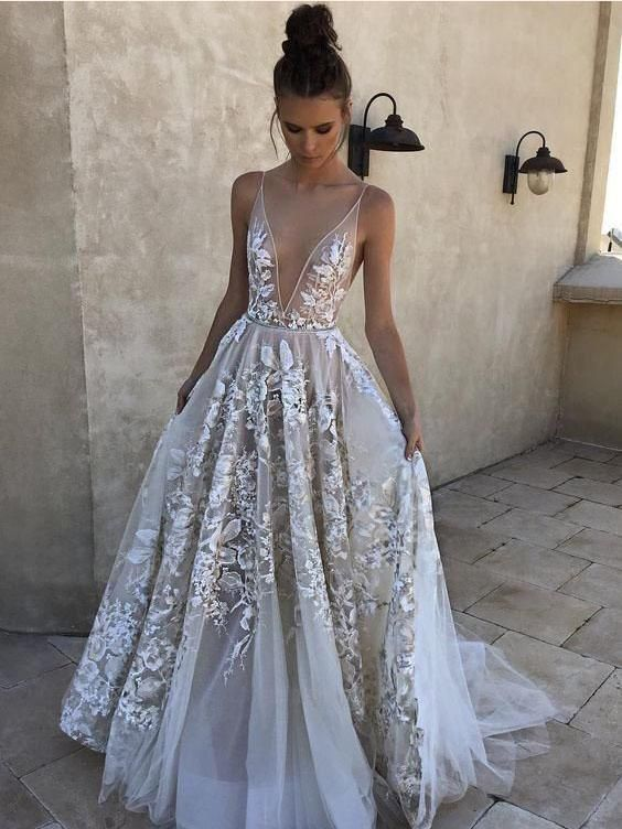 2018 A-line Prom Dresses White Elegant Long Prom Dress Evening Dresses AMY607