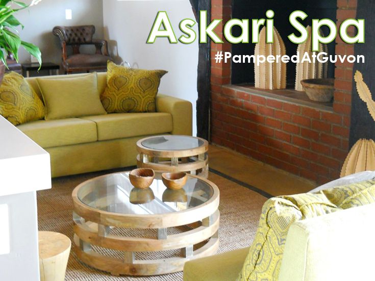 Askari Spa at Askari Game Lodge reflects the environment that surrounds it – African veldt and wildlife rise up to meet the African sky and majestic Magaliesberg mountain range.  #PamperedAtGuvon #atGuvon #lounge #green