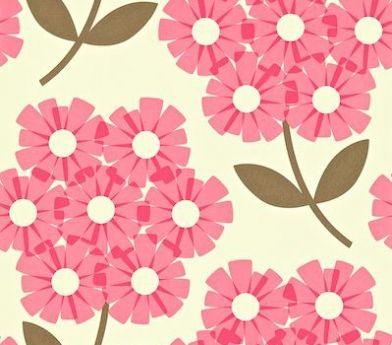 Giant Rhodedendron (110410) - Orla Kiely Wallpapers - Giant Rhodedendrons in a simple stylised effect. Shown in pink and brown on off white - more colours are available. Please request a sample for true colour match. Paste-the-wall product.