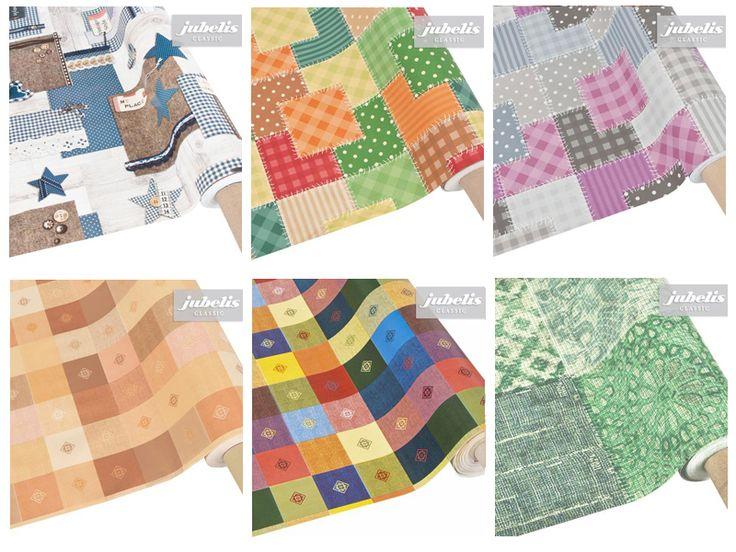 Wachstuch Oilcloth Stoffe abwaschbar Tischdecken, Meterware und Rollen im Patchwork Stil