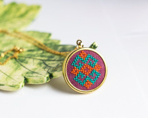 Ethnic necklace - Hand embroidered cross stitch jewelry - ethnic traditional embroidery - n020