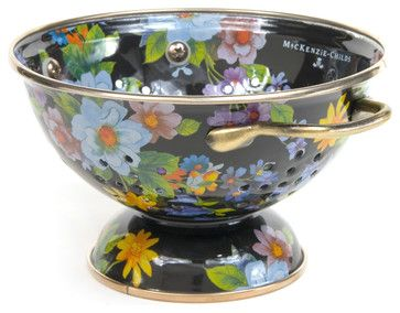 Flower Market Small Enamel Colander - Black | MacKenzie-Childs - eclectic - Colanders And Strainers - Other Metro - MacKenzie-Childs