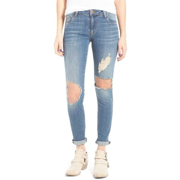 Women's Sts Blue Taylor Destroyed Boyfriend Jeans ($58) ❤ liked on Polyvore featuring jeans, fern canyon, ripped blue jeans, destroyed jeans, boyfriend jeans, embellish jeans and slim boyfriend jeans