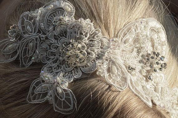 Bridal lace hair accessory. Handmade bridal by OnlyHandmadeJewelry