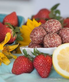 Strawberry Lemonade Bites {grain-free; dairy-free} by Our Paleo Life.