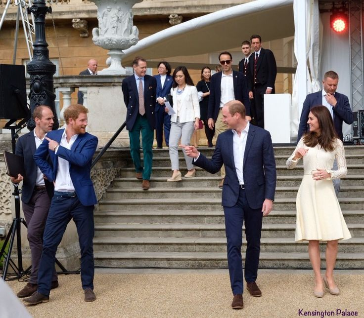 Party at Buckingham Palce with Prince Harry, Prince William and Catherine. May 13, 2017. Kensington Palace