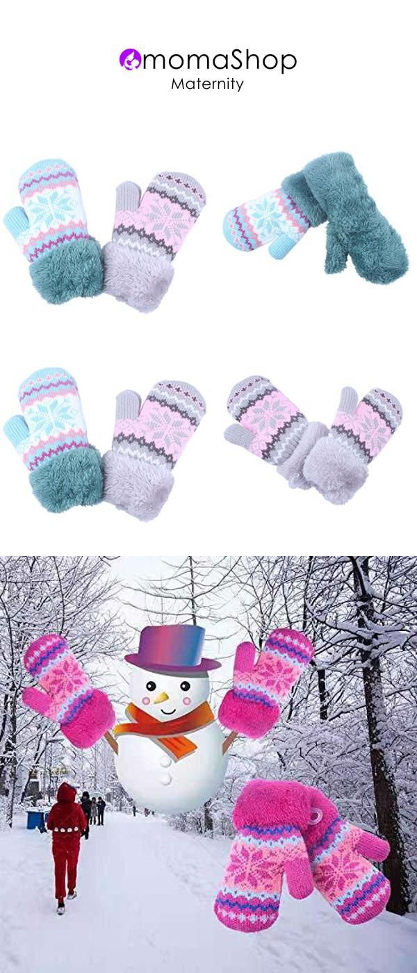 1//2Pairs Kids Boy Girl Warm Winter Gloves Mittens Fleece Lining Snowflake Design