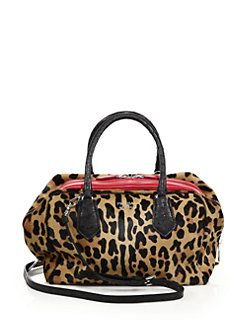 Prada Leopard-Print Calf Hair, Ostrich \u0026amp; Leather Inside Bag ...