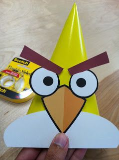 While planning my son's Angry Birds themed party , one of the first ideas I had was to create Angry Birds party hats. I had a visio...