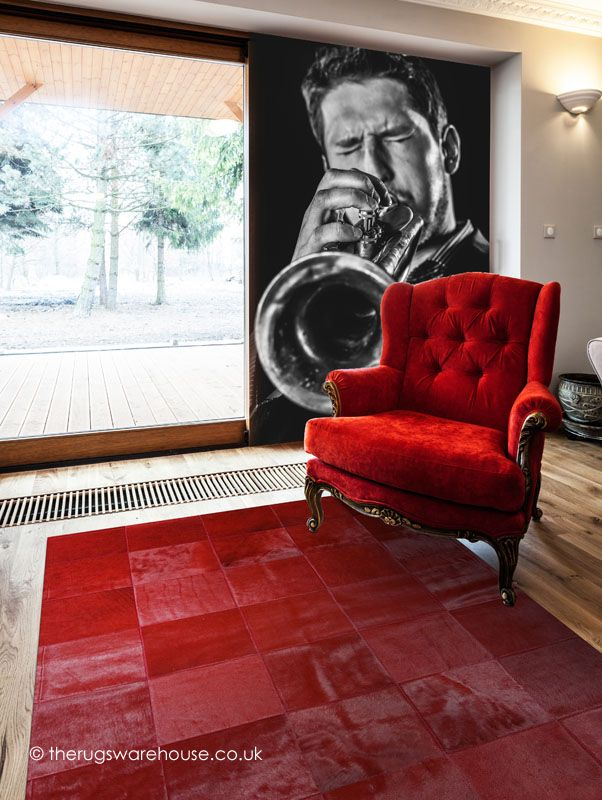 Alhambra Rug, a vibrant red 100% cowhide leather rug handmade in Spain http://www.therugswarehouse.co.uk/alhambra-rug.html #rugs #interiors #red