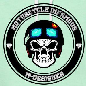 calavera motociclista - Sudadera con capucha premium para mujer  #motos #motociclista #calavera #craneo #skull #gafas #diamantes #militar, #camo #carrera