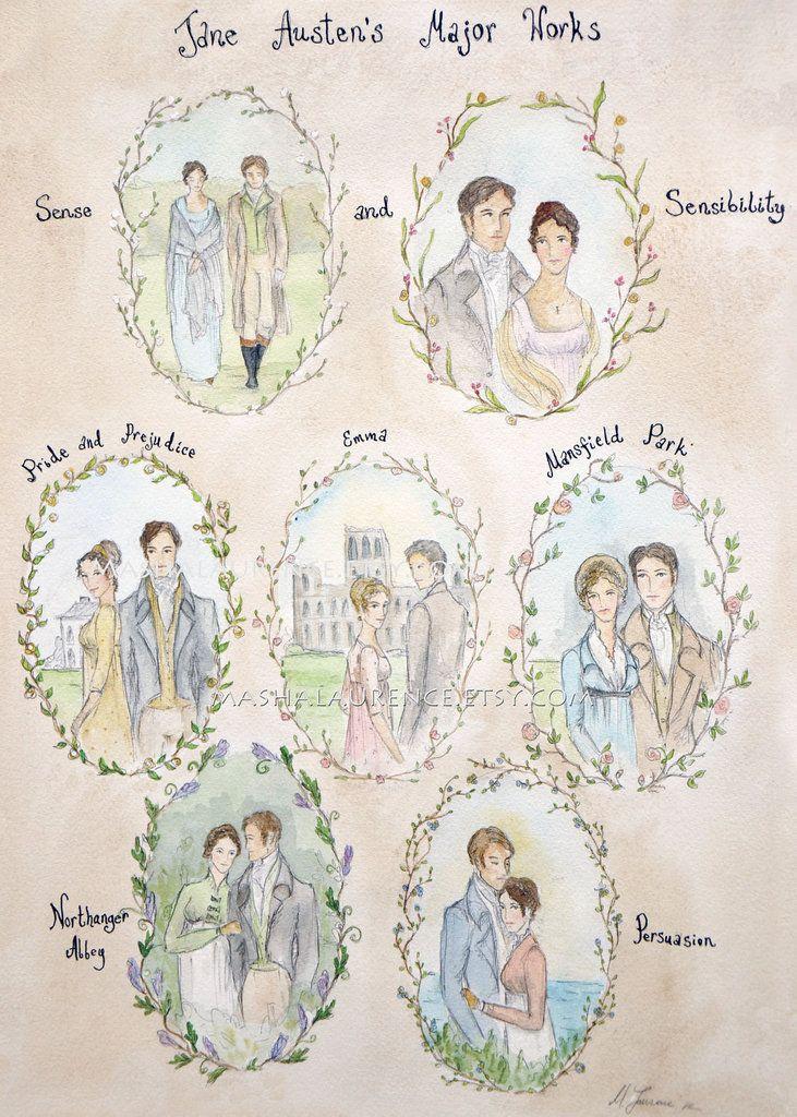 Jane Austen print: 6 novels:  Sense and Sensibility (1811) Pride and Prejudice (1813) Mansfield Park (1814) Emma (1815) Northanger Abbey (1818, posthumous) Persuasion (1818, posthumous)