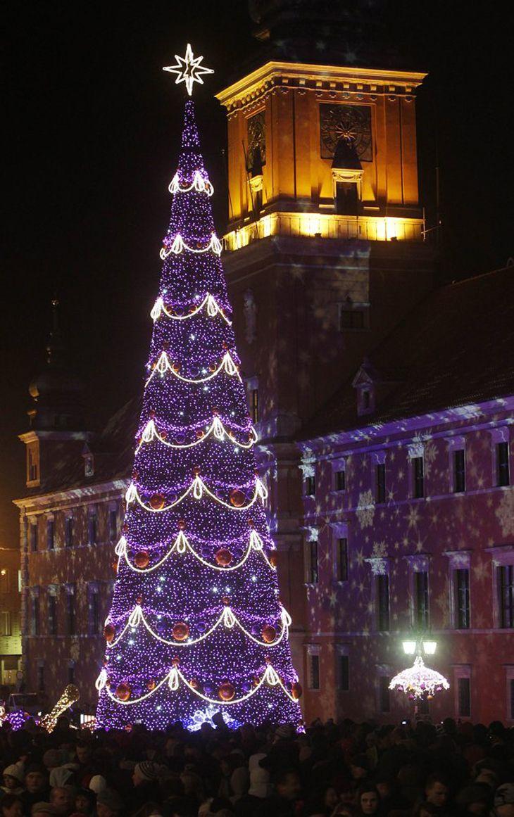 Christmas illuminations at the Royal Treaty street in Warsaw, Poland
