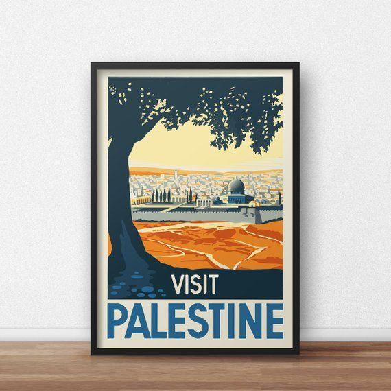 Visit Palestine vintage travel poster Printed on high