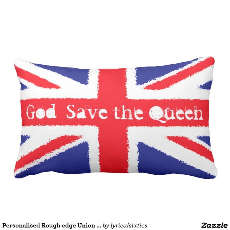 """A fun pillow with the red, white and blue of the Union Jack, the flag of the United Kingdom, on both sides. The Union Jack has been designed with 'fuzzy' edges to its lines, for a more casual look. One side has the words """"God Save the Queen"""" in grungy text, that can be personalised to your own words if you wish."""