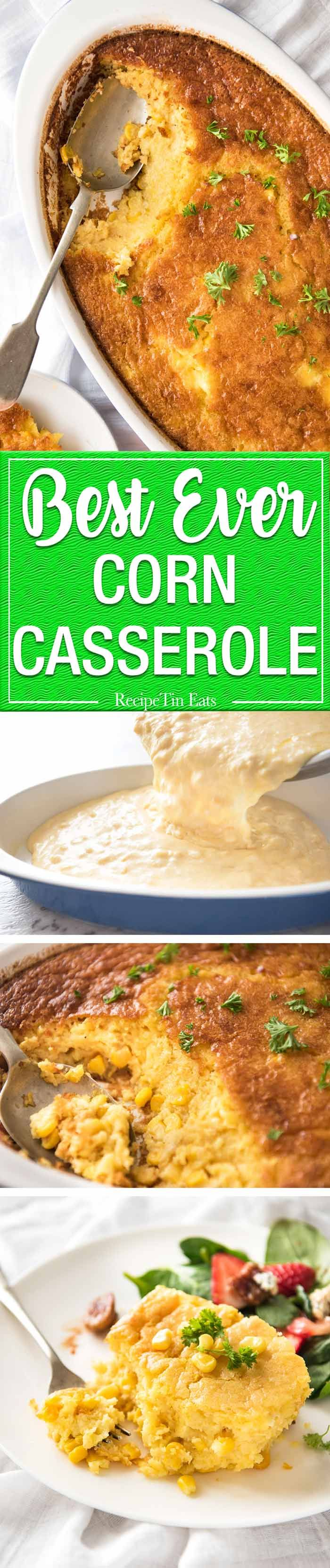 This Creamy Corn Casserole is a fantastic side dish! It's like a cross between corn bread and soufflé. Sweet and savoury, tender and moist inside, with a golden top. Classic Thanksgiving side dish! www.recipetineats.com