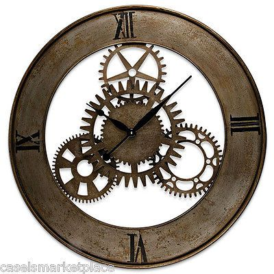 industrial design large open back metal gear wall clock vintage reproduction - Designer Large Wall Clocks