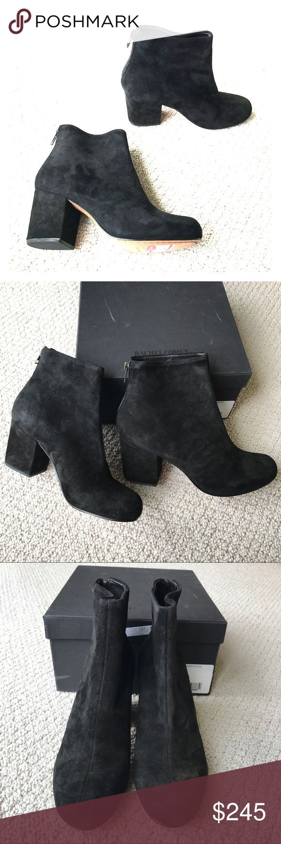 """Rachel Comey- Tilden Black Suede Booties NWT So chic and perfect dressed up or down! Rachel Comey """"Tilden"""" black suede booties. A mod ankle boot constructed from rich suede and set on a chunky wrapped heel features an exposed back zip. 3"""" heel (size 7.5). 4 1/2"""" boot shaft. Back zip closure. Leather upper, lining and sole. Shoes are new with tags. Includes box from Nordstrom Rack and a dust bag (Joie dust bag). No trades please! Rachel Comey Shoes Ankle Boots & Booties"""