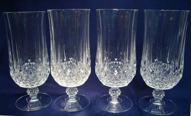 Set of 4 cristal d 39 arques longchamp crystal footed 7 iced - Verres cristal d arques longchamp ...