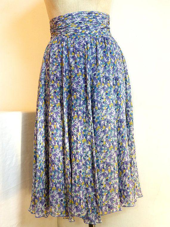 Purple flower & bird voile CACHAREL midi skirt with gathered high waist - French 80s vintage