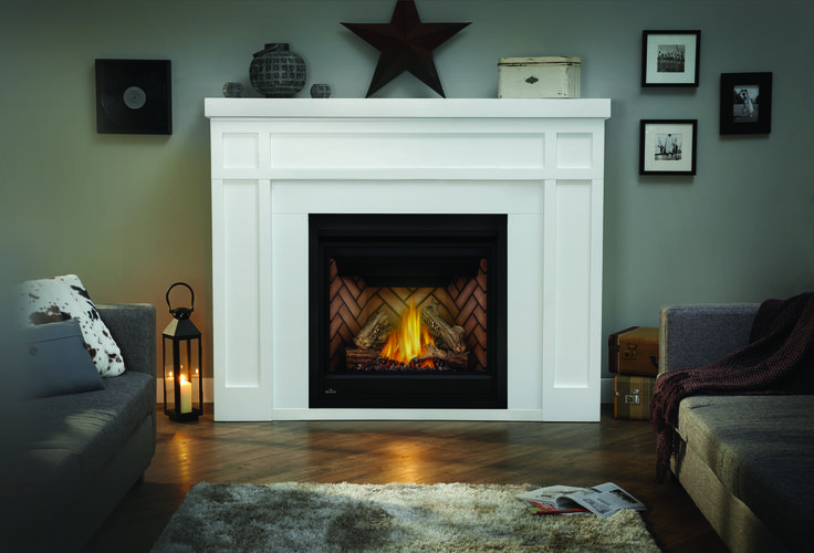 The Napoleon Ascent™ X 36 Gas Fireplace enhances ambiance in any room with the most industry realistic, exclusive PHAZER® log set and glowing ember bed.