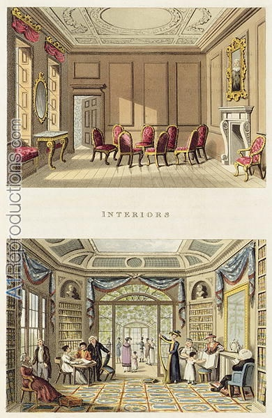 Interiors The Old Cedar Parlour and The Modern Living Room, from Fragments on the Theory and Practice of Landscape Gardening, pub. 1816  Humphry Repton