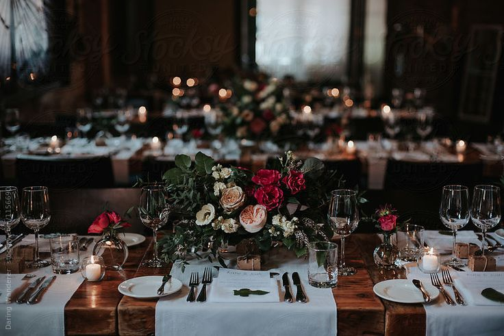 Dark and romantic candle lit dinner autumn wedding inspiration
