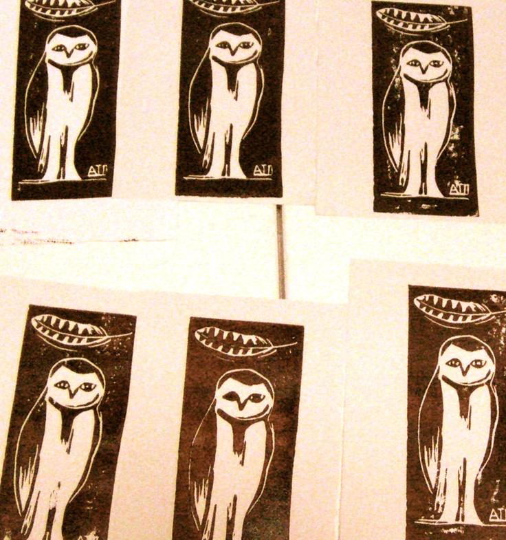 Uiltje, linosnede / Little Owl, linocut by Ati van Twillert