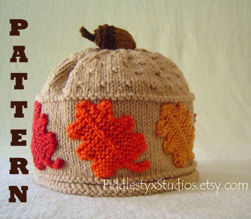Hat Knitting Pattern Fall Leaves Hat Pattern The