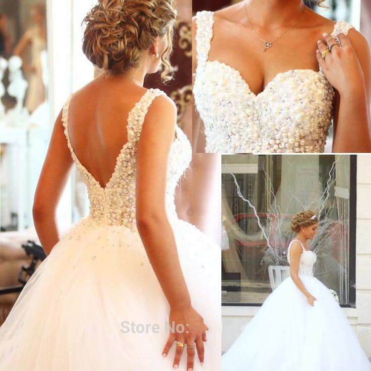 Romantic Crystal Pearl Sweetheart Backless Ball Gown Wedding Dress China Court Train White Tulle Bride Bridal Gown