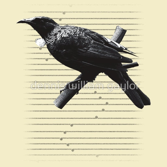 new zealand tui monotone iteration  - custom illustrated posters, prints, tees. Unique bespoke designs by dennis william gaylor .:: watersoluble ::.