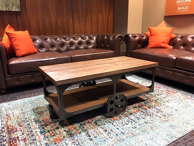 Rustic lounge furniture and table rentals | Shag Carpet Prop Rentals | Dallas