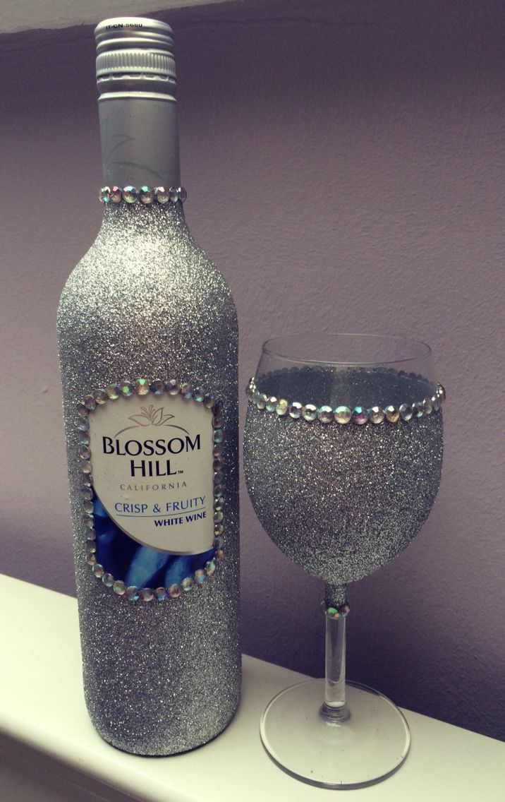 Glitter wine glass with gems and glitter wine bottle. Purchase online at www.facebook.com/theglitterroom