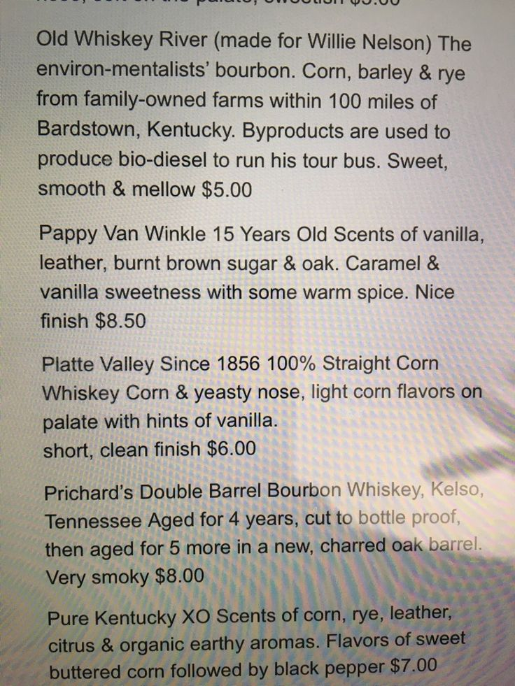 How the times have changed: Menu of bourbon prices from 2010. #bourbon #whiskey #whisky #scotch #Kentucky #JimBeam #malt #pappy