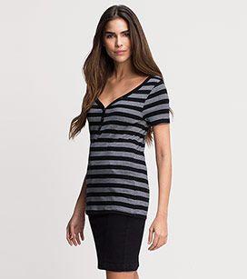 Damen T-Shirt aus Bio-Baumwolle in schwarz / weiß - Mode günstig online kaufen - C&A