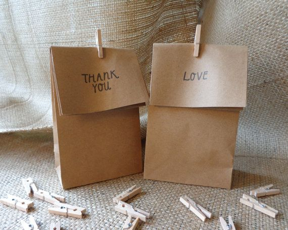 Bomboniere Bags Stamped with Wooden Pegs Set of by CreateTheDate, $45.75