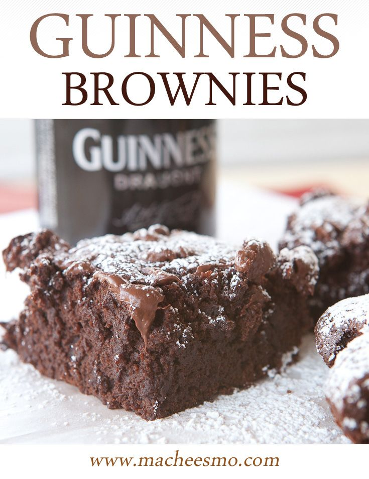 Guinness Triple Chocolate Brownies: Decadent and gooey with three chocolate ingredients and rich Guinness stout!