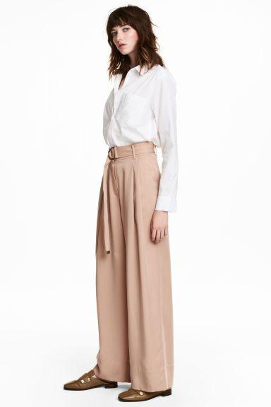 Wide lyocell trousers - Light beige - Ladies | H&M