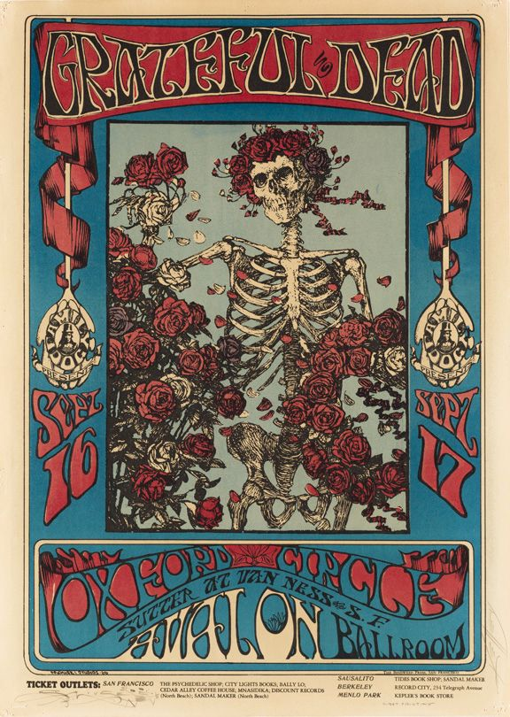 Grateful Dead (Skeleton and Roses), September 16-17, 1966, Avalon Ballroom, San Francisco. Artists: Alton Kelley, Stanley Mouse.